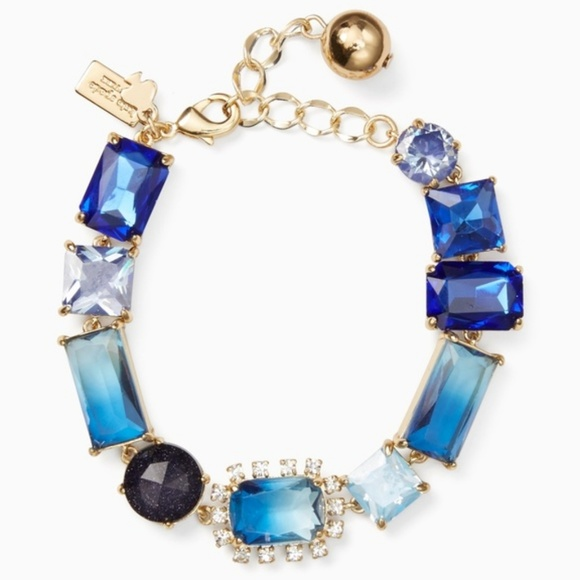 NEW Kate Spade 12K Gold Blue Color Crush Bracelet